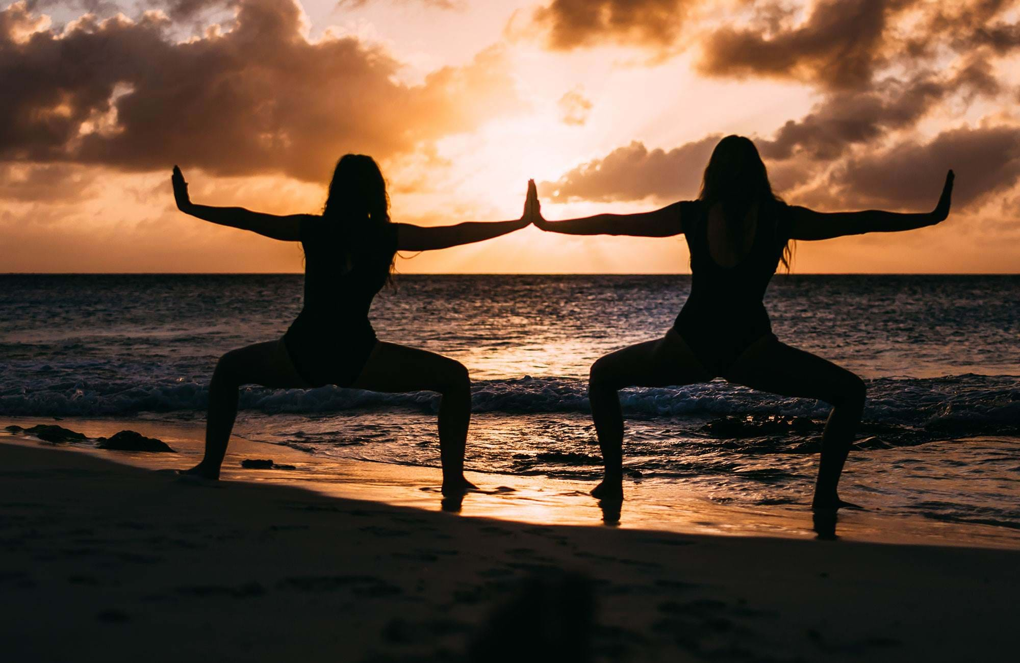 Yoga Beach Two Girls Sunset Cover