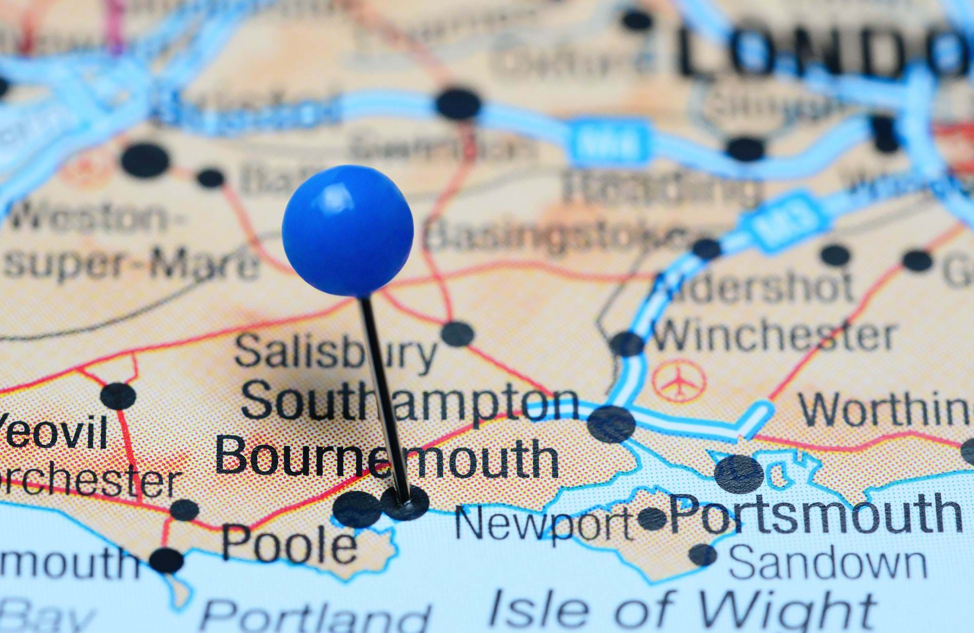 Bournemouth England Location On Map With Pin