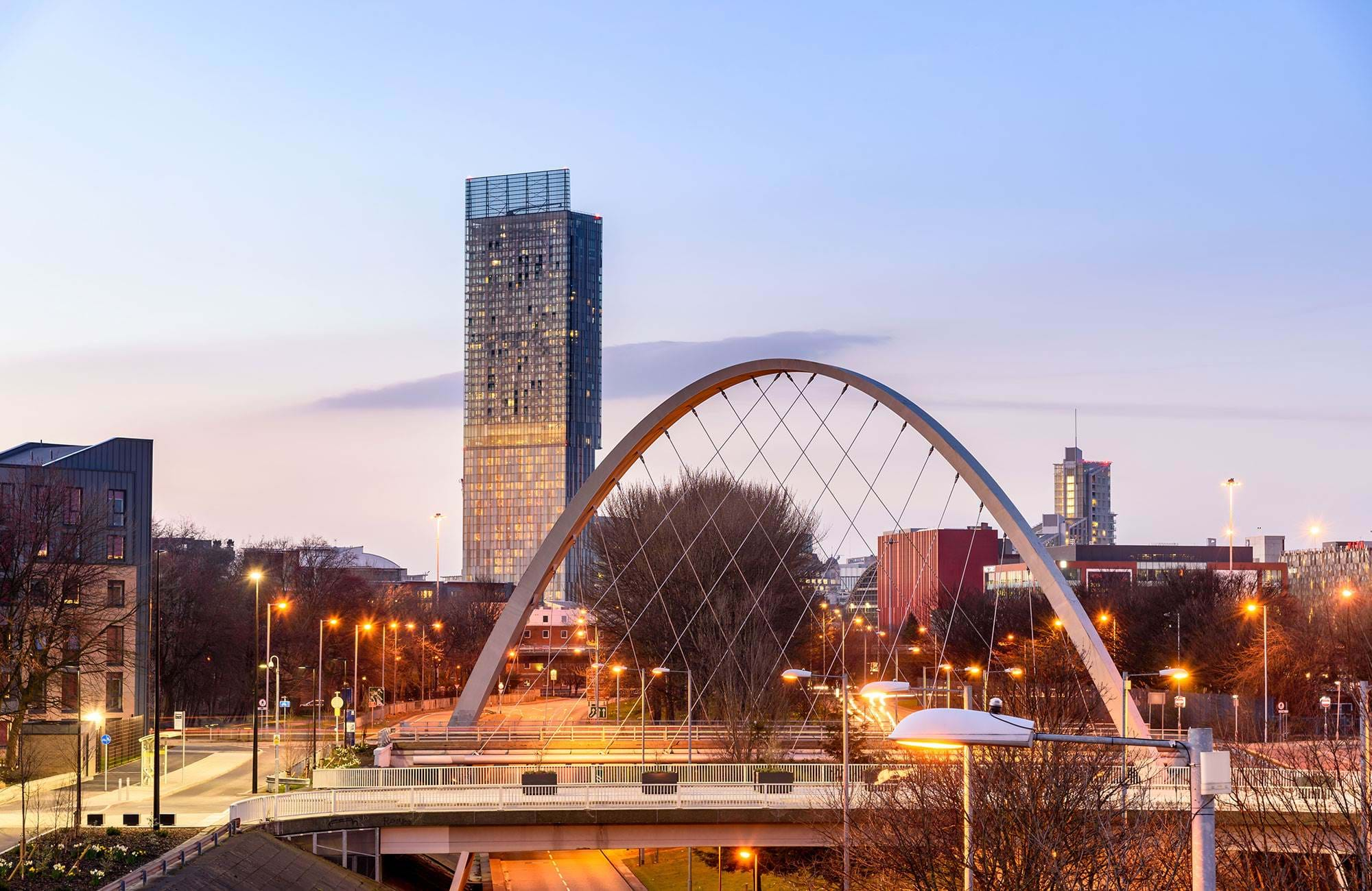 Birmingham England Hulme Arch Bridge Beetham Tower