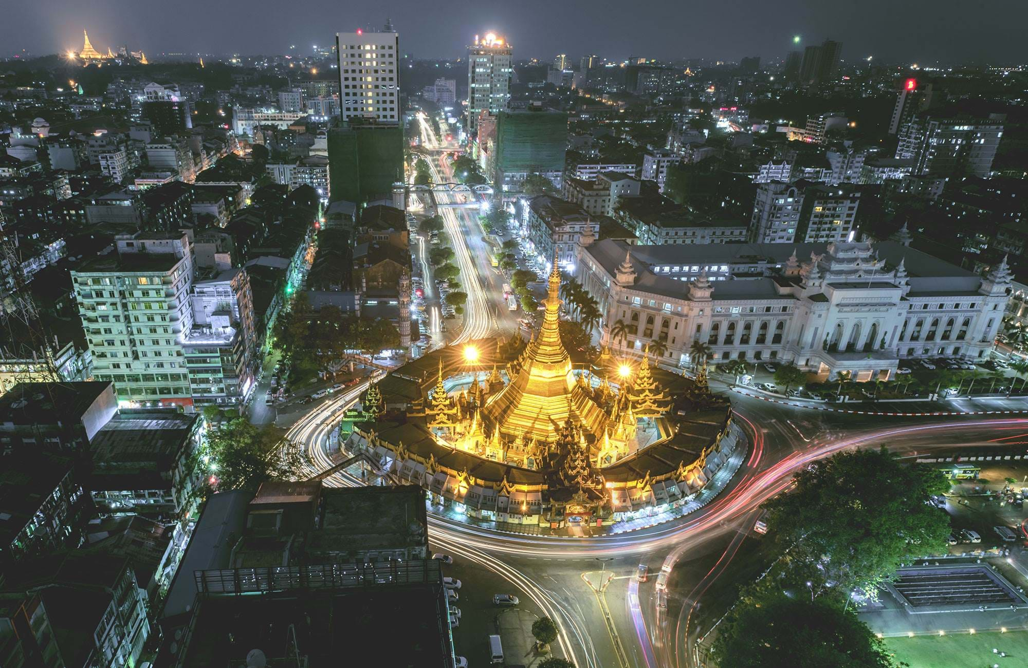 Myanmar Yangon At Night