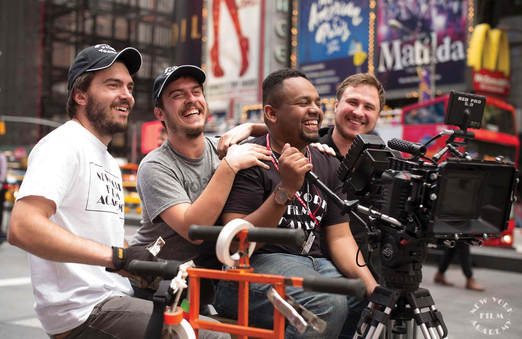 New York Film Academy Students Filming On Times Square